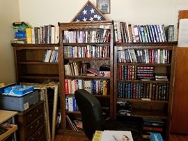 some nice solid wood book shelves and books nice leather bound collection.