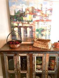 Tuscan style decor, cabinet