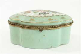 Lot 23: Limoges Porcelain Floral Decorated Oval Box