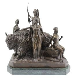 Lot 27: Contemporary Bronze Grouping, Buffalo & Indians
