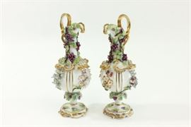Lot 28: Pair Porcelain Continental Ewers