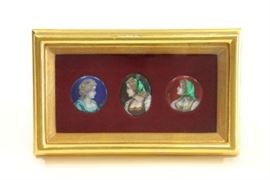 Lot 41: 3 Miniature Enamel Portrait Cameos
