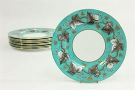 Lot 48: Set 10 Wedgwood Empire W3758 Turquoise Plates