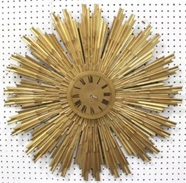 Lot 51: Mid-Century Modern Gilt Bronze Sunburst Clock