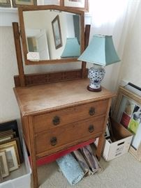 Arts and Crafts Antique 1920's Vanity/Chest of Drawers with Mirror. Made in England. Carved Detail. Nice piece.