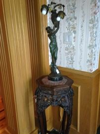 Marble top carved plant stand; art deco lamp