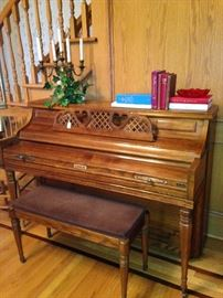 Kimball piano & bench; brass candelabra