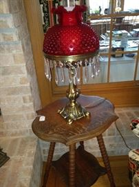Two-tier table; decorative red lamp