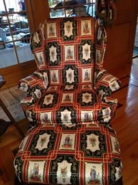 The other Asian print wingback chair & ottoman