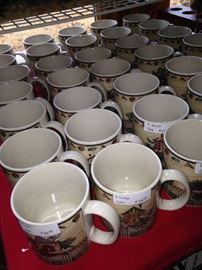 Some of the many matching Christmas mugs