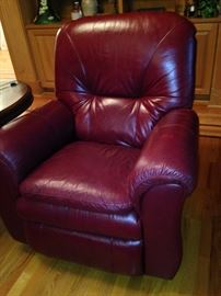 One of two leather recliners