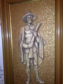 Man Pilgrim embossed plaque