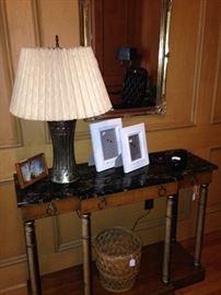 Sofa/entry table; lamp; mirror