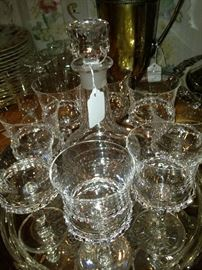Decanter and stemware on silver plate tray