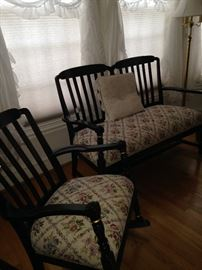 Two of the three coordinating pieces (settee & rocker)
