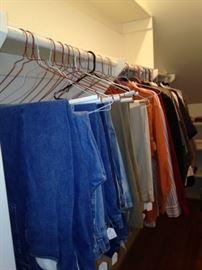 Men's jeans, slacks, and shirts