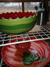 Darling watermelon bowl and chip & dip set