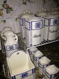 Blue & white German canisters