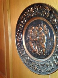 Vintage embossed brass English wall plate