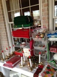 Christmas linens, candles, etc.