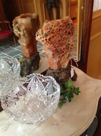 Crystal bowl and other decor