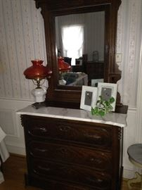 Marble top antique dresser and mirror