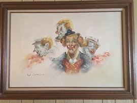 Signed Clown Painting by Simon