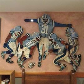 "Original artwork by Edward (Ned) Moulton. University of North Carolina football players (#98, #87, #31, #49 and #55) size 55"" x  65"""