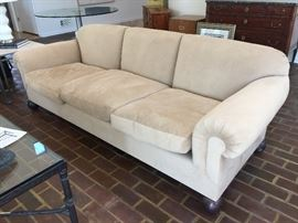 "28. Sofa w/ 3 Seat Down Filled Cushions, Tight Back & Bun Feet (92"" x 36"" x 31"")"