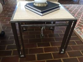 "131. Billy Baldwin Satin Stainless End Table w/ 3/4"" Beige Travetine Top (24"" x 24"" x 21"")"