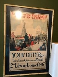 "WW1 ""YOUR DUTY-BUY US GOVERNMENT BONDS 2ND LIBERTY LOAN OF 1917"" ORIGINAL POSTER"