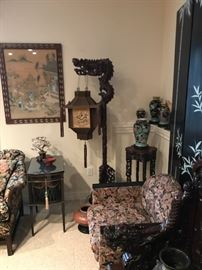 The dragon floor lamp with original embroidered silk shade dates from the early 1900's.