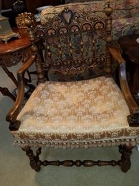 Great antique chair with ornate back