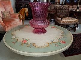 Oversize (Huge!) cranberry piece on Kozak Studios decorated Imperial (Grand Rapids) coffee table