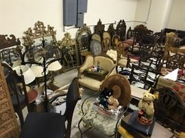 A room full of chair sets, mirrors, and more!