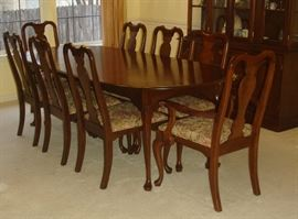 Hitchcock cherry dining table with 8 chairs