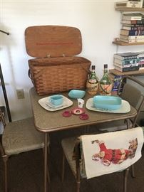 Vintage Card Table, Picnic Basket and Dishes