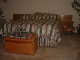 Mid Century King bed, with side matching night stands