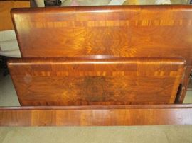 1938 Art Deco waterfall style double bed, headboard, footboard and both side rails, complete