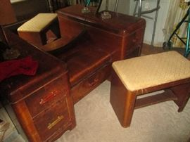 1938 Art Deco waterfall style dressing table with Bakelite handles with mirror and original bench