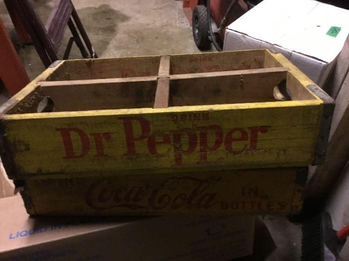 Dr. Pepper and Coca Cola crates