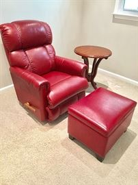La Z Boy red recliner, matching ottoman (sold separately)