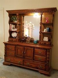 Mirrored Dresser has 2 matching bedside tables & highboy dresser