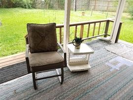 Set of 4 rockers. There are 2 of these rolling patio tables, plus a large, square, tile top coffee table