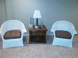 White Wicker Arm Chairs
