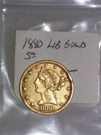 1880 Liberty $5 Gold Coin