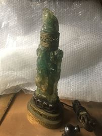 •	Early Chinese 1900's carved Jade / Nephrite lamp