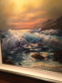 """""""Sunset"""" by Rosemary Miner---- a terrific image of the famous big surf seen at California's Big Sur Beach at Sunset."""