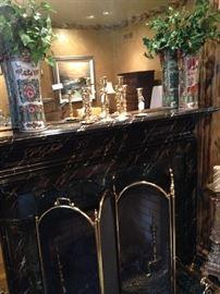 Fine Asian style vases; brass candlesticks; folding brass firescreen