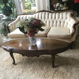 Henredon coffee table and Victorian style sofa